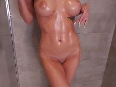 Hot brunette Tanya masturbating naked in shower