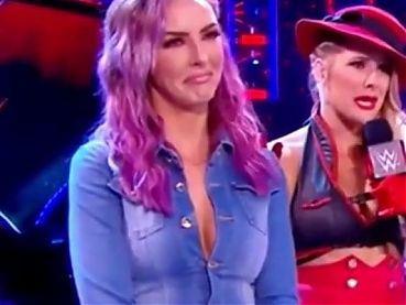 WWE - Peyton Royce in sexy denim outfit with Lacey Evans